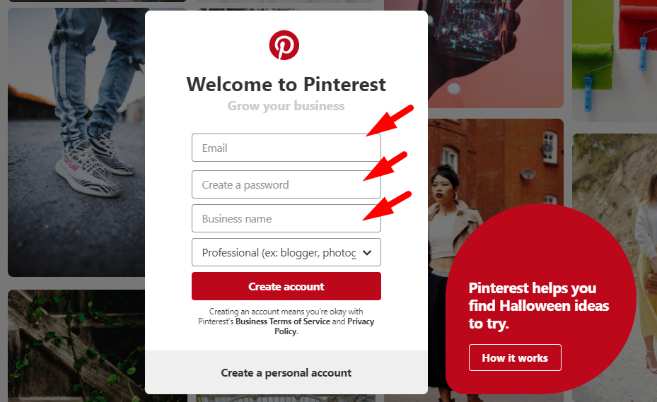 Drive traffic to your blog - pinterest sign up